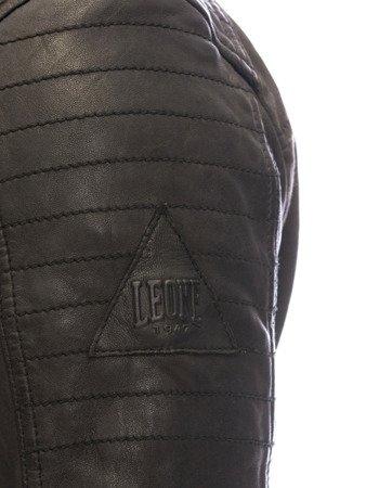 kožená bunda / džíny tmavě hnědá